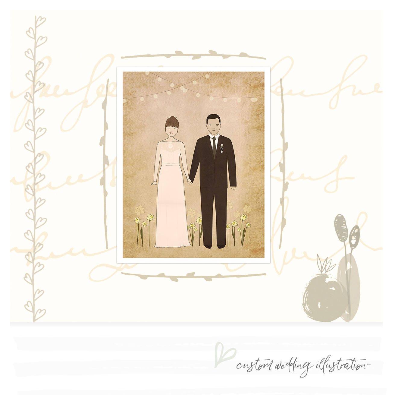 Rustic Wedding Portrait Printable Custom Portrait Digital