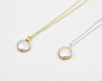 Freshwater Pearl Necklace, Floating Pearl Pendant Necklace, Single Pearl Necklace, Pearl Choker, Coin Pearl Pendant, Simple Pearl Necklace