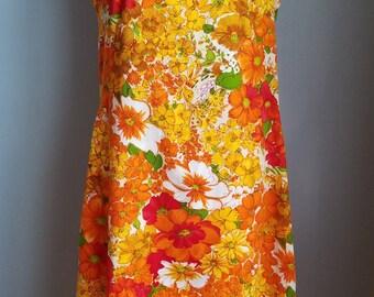 vintage orange red white yellow floral dress