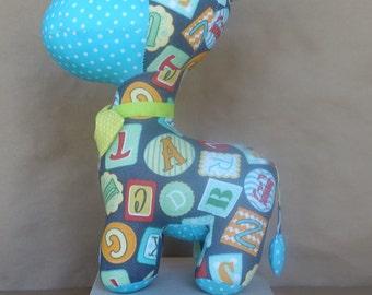 Stuffed Donkey in Alphabet Blocks & Blue Polka Dots