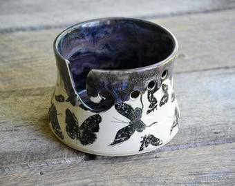 Knitting bowl yarn bowl with butterflies