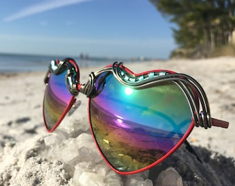 HEARTS Wire Art Rainbow Reflective ~ SPUNGLASSES ~ Artisan Unique Glasses Sunglasses Eyeglasses Sunnies ~ Free Shipping