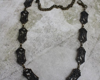 Very Cool Retro Metal Bronze Chain Belt with Flower and Heart Detail