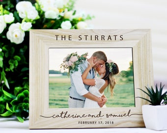 Rustic Wedding Photo Frame, Wedding gift for Couples, Personalized Wedding Frame, Wedding Gift