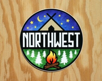 Northwest Decal -- Northwest Sticker -- Camping Sticker -- Camping Decal -- PNW Sticker -- NW Decal -- Mountains Decal -- Forest Trees Decal