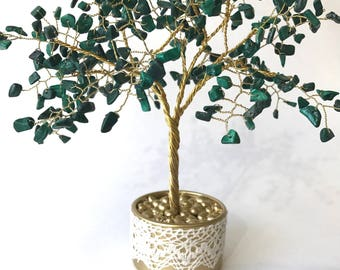 Malachite gemstone tree - symbol of charm and spiritual strength / Tree of luck