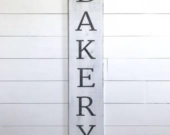 "Bakery sign | farmhouse wall decor | farmhouse kitchen decor | wood sign | vertical bakery sign | fixer upper decor | 9.25"" x 48"""