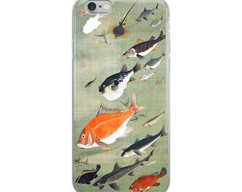 Japanese fish iPhone 6 7 8 X case, protective case with marine life ocean and orange fish, for fishermen and fine art lovers