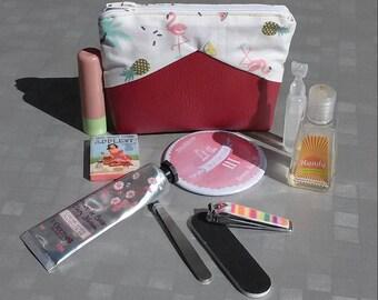 Trousse en simili cuir bordeaux pour femme avec motifs exotiques (ananas, palmier, flamant rose) - trousse sac à main - trousse maquillage