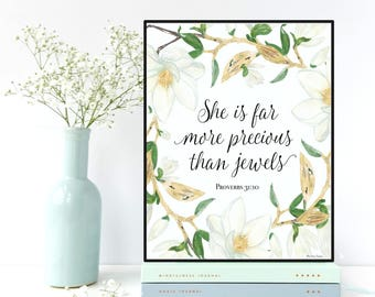 Bible verse, She is far more precious than jewels, Proverbs 31:10, Nursery wall art, Scripture art, Bible verse print , Nursery bible verse