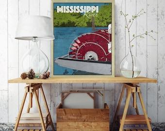 Mississippi River Canvas, Mississippi Travel Illustration, The Big Muddy, Mississippi River Boat, River Paddle Boat, Canvas Print Wall Decor