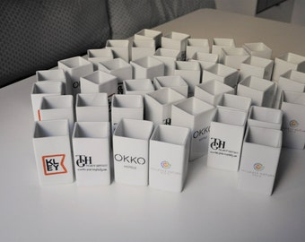 New year 2018 professional gift: a building, my office, the company logo on a holder for pencils for employees customers