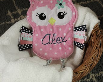 Personalized Baby/Toddler Pink Snuggle Owl - Baby Shower Gift - Personalized Baby Lovey - Handmade - Crinkle Sensory Toy