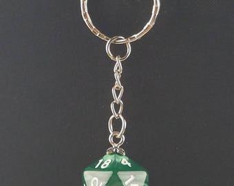 D20 Dice Dungeons & Dragons RPG Fantasy Dark Green Swirl Keychain