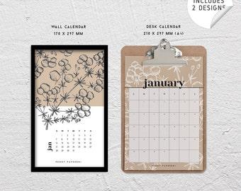 Calendar 2018 / Printable / DIY / Calendar 2018 / Wall Art / Floral / Botanical / Wall Calendar / Desk Calendar