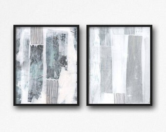 Abstract Art Print Set, Abstract Painting Printable Art, Instant Download Blue and White Wall Art, Set of 2 Prints, Neutral Home Decor