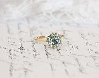 8.15mm Grey Moissanite in 9K Yellow Gold Solitaire Ring (9ct), Engagement Ring