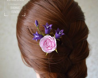 Summer wedding hair pin Wildflower jewelry Woodland wedding Campanula Ultra violet flower jewelry Floral accessory Pink rose Hair accessory