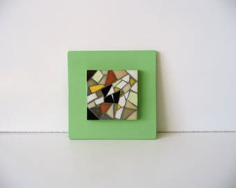 Painting mosaic on jade green frame
