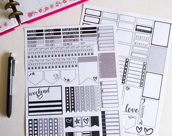 Black and White (Gray Scale) 80s / 90s Inspired Printable Planner Stickers - Weekly Kit Sized for Classic Happy Planner, Digital Download
