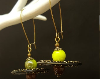 Earrings Ethnic flat - wood beads - ethnic - africa - Bohemian - nature