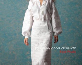 White Linen Skirt and Blouse, Wedding clothing, Ukraine midi white skirt, Vyshyvanka women Blouse Embroidered Blouse Skirt Ethnic Embroidery