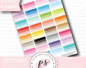 Multicolour Half Size Heart Checklist Box Printable Planner Stickers | JPG/PDF/Silhouette Compatible Cut Files