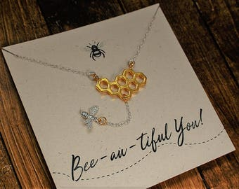 Silver Bee Necklace with gold plated honeycomb charm//handmade bee necklace//Bee Jewellery