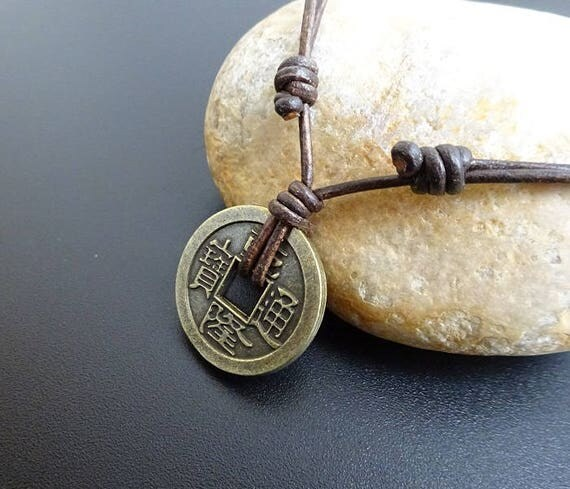 Chinese coin necklace leather necklace lucky coin necklace like this item mozeypictures Choice Image