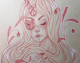 Unicorn Girl ORIGINAL Artwork OOAK Pencil Drawing on Tan paper Fairytale Art Fantasy Art 9x12in