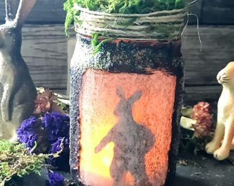 Easter Bunny, Light Jar, Primitive Decor Spring Hare, Osterhase, Oschter Haws, Decorative Prim Decor, Spring Decoration, Limited Edition