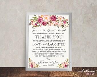Bohemian Wedding Thank You Sign Floral Printable Wedding Reception Boho Digital Spring Pink Peony Bohemian Bridal Wedding Poster - WS014