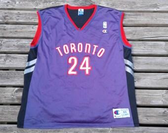 Vintage 90's Toronto Raptors Jersey Champion Morris Peterson size 44 Large