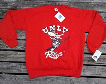 Vintage 90's DEADSTOCK UNLV Runnin' Rebels bright red crew-neck sweatshirt Made in Canada by Bulletin Medium