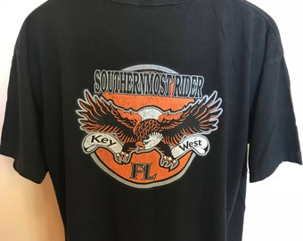 90s Southern Most Rider Key West Shirt Vintage Tee Motorcycle Biker Harley Davidson Sloppy Joe Duval Street American Eagle USA Florida XL