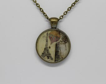 Paris Eiffel Tower Pendant Bronze Necklace