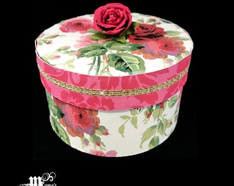 Red and Pink Roses on Cream Paper Paper Mache Jewelry Box, Pink Roses, Red Roses, Spring Rose Collection, Storage Box, Trinket Box, Jewelry
