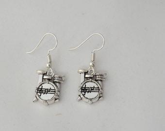Drum earrings, musical instrument earrings, gift for her, drummer earrings gift, sterling silver earrings, music student or teacher gift