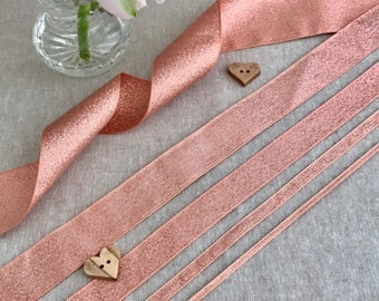 "Rose Gold Ribbon - BERISFORDS LAME - 1/8"" 1/4"" 5/8"" 1"" 1 3/4"" - 1m/3m/5m 10m Length - Cake Decoration - Metallic Sparkle Trim - Wedding"