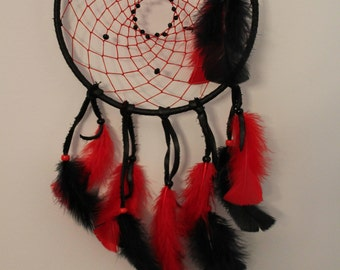 Real Native American Dream Catcher Black and Red