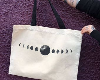 Moon phase canvas tote bag lunar cycle
