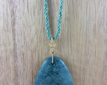Necklace: Marmore Viridi - Green Marble; green stone pendant on braided silk cord