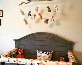 Origami Fox Driftwood Mobile, Baby Mobile, Handmade Mobile, Nursery Mobile, Driftwood, Fox, Woodland, Modern, Animal, Baby Shower Gift