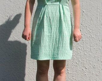 Polka dot cat dress, aqua dress, polka dot dress, double gauze dress, small dress, summer dress, sun dress, cat dress, elastic waist dress