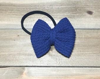 Navy Bow Headband- Navy Bow; Navy Hair Bow; Navy Nylon Headband; Baby Headband; Baby Nylon Headbands; Bow Headband; Big Bow Headband