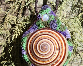 Rainbow Moonstone,clear crystal quartz, Polymer Clay, Tribal forest Hand Made Pendant.