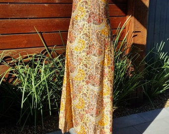 Vintage Lurex Gold Orange Maxi Dress from 1960's