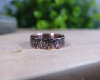 Hammered Copper Ring, 6 mm wide with dark patina