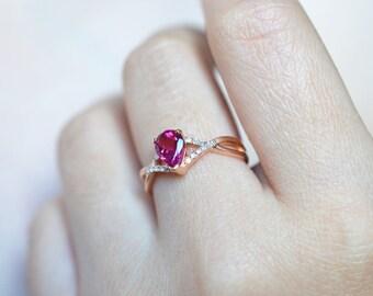 Gemstone Tourmaline Engagement Ring 18k Rose Gold Engagement Ring 14k Rose Gold Wedding Ring Rubellite Tourmaline Engagement Ring Wedding