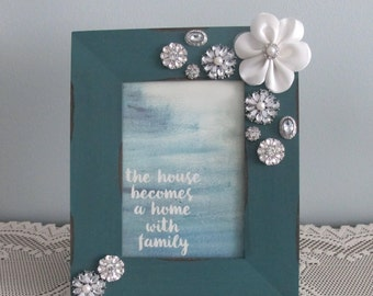 Deep Turquoise and White Picture Frame